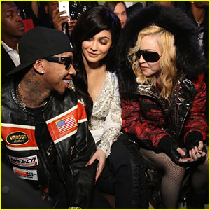 kylie-jenner-and-tyga-chat-it-up-with-madonna-at-philipp-pleins-fashion-show