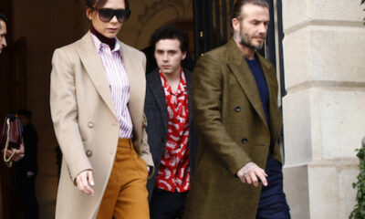 David Beckham and Victoria Beckham with their son Brooklyn Beckham leaving the Ritz hotel in Paris  Featuring: Victoria Beckham, David Beckham, Brooklyn Beckham Where: Paris, France When: 18 Jan 2018 Credit: WENN.com  **Not available for publication in France**